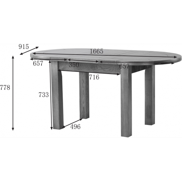 SMALL D-END EXTENDING TABLE