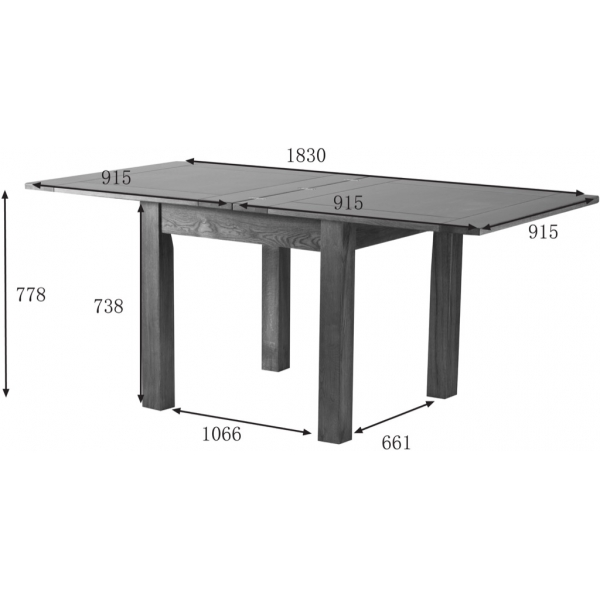 3' X 3' FLIP TOP EXTENDING TABLE